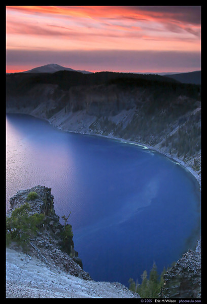 Crater Lake at sunset from the same location, facing northwest. (1.6 sec. exposure.)