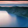 Crater Lake at sunset from the same location, facing west. (1.3 sec. exposure.)