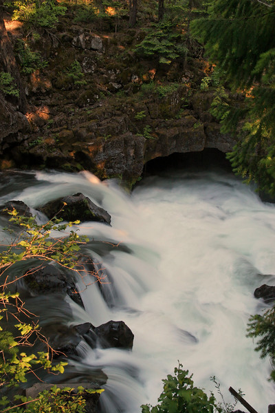 A section of the Rogue River follows the lava-tubes underground for 50-meters or so. Here it is going down into the rock.