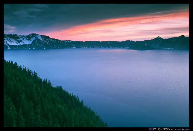 Crater Lake at sunset, facing south from a northeast rim. (2 sec. exposure.)