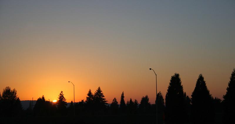 Warm sunset accompanies us back into Portland.