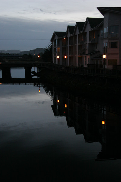 Ocean inlet in Seaside at dusk.
