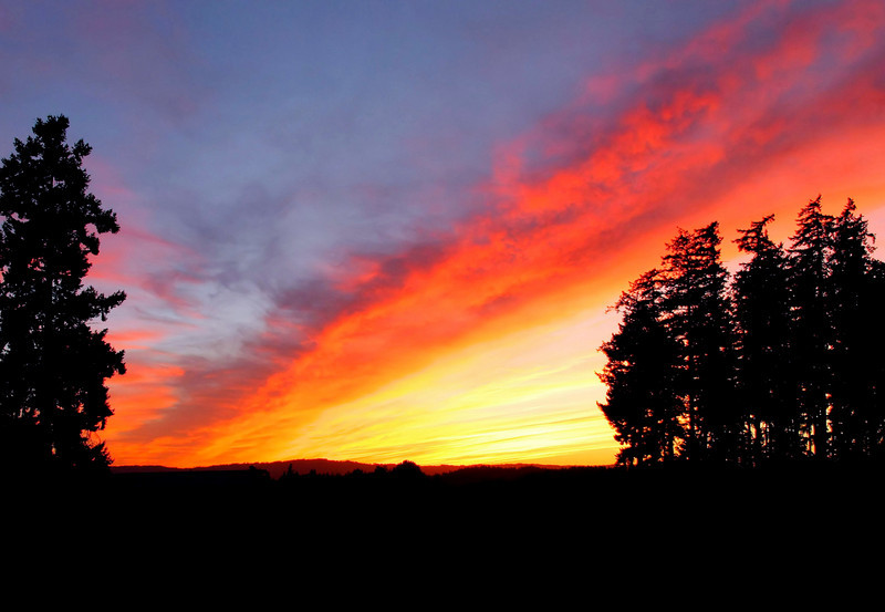 "September Oregon sunset west of Beaverton.<br><br><span class=""subcaption"">  I made some minor tweaks here, but didn't brighten the colors. The sky was just amazing that night.</span>"