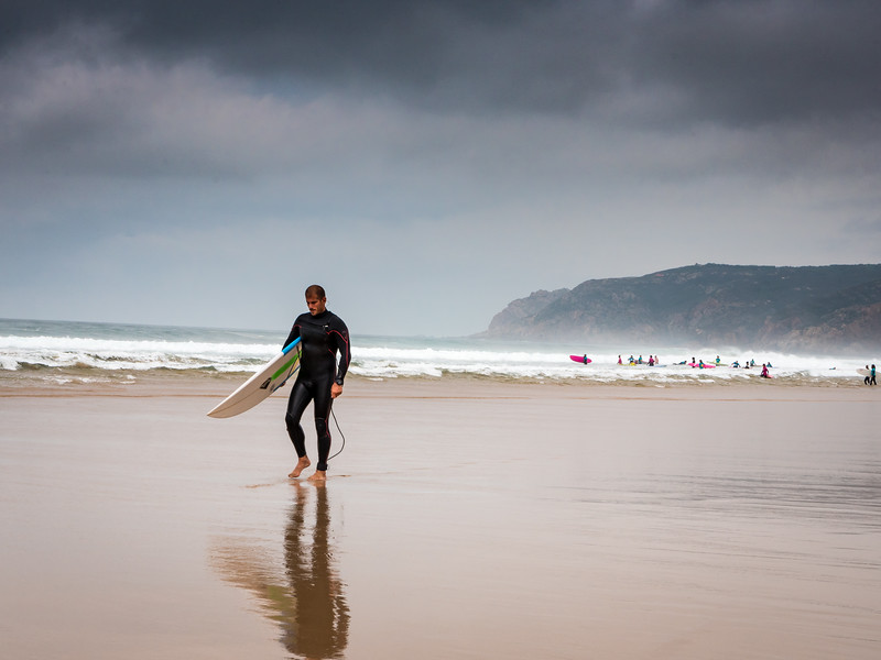 Surfer on Guincho Beach
