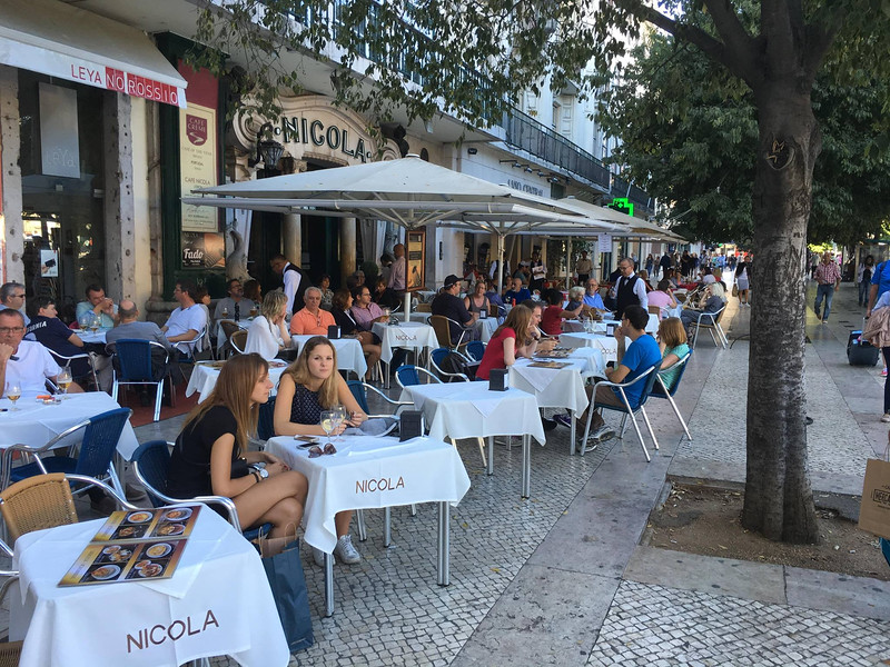 Typical street cafes in Lisbon