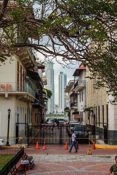 Panama City skyline seen from Casco Viejo