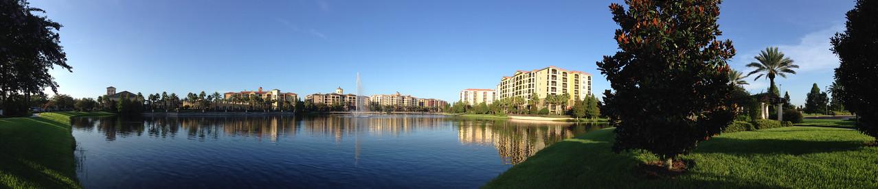 sunrise in Orlando lake and fountain at Hilton Grand Vacation Panorama2