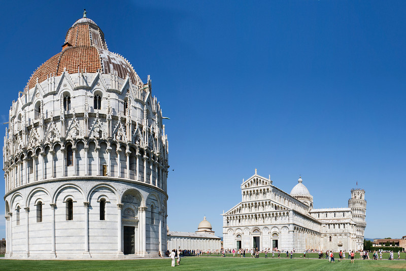 Piazza dei Miracoli, Pisa<br /> <br /> The wonderfully named Field of Miracles<br /> <br /> From left, Battistero di San Giovanni, Duomo di Santa Maria Assunta, Torre pendente di Pisa, or for you English speakers, the Baptistry of St. John, the Cathedral of St. Mary of the Assumption and the Leaning Tower of Pisa<br /> <br /> 5 shot hand held panorama