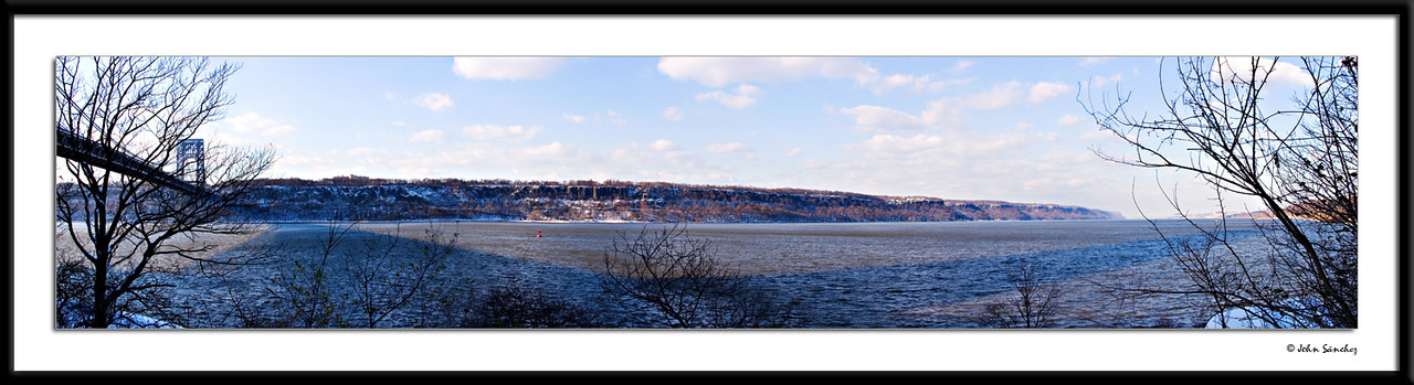 Panorama of the Jersey Palisades ibn Winter.