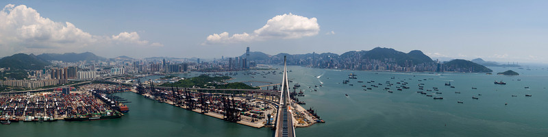 Hong Kong Panorama from the Stonecutters Bridge West Tower<br /> <br /> 16 shot hand held