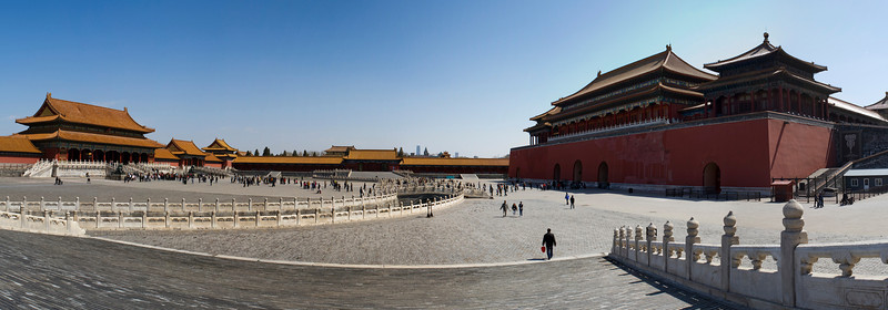 Forbidden City, Beijing<br /> <br /> The Gate of Supreme Harmony (left) and the rear of the Meridian Gate (right)<br /> <br /> 12-shot hand-held panorama