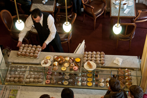 Waiter and pastries, Angelina's, Paris