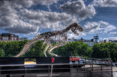 Tyrannosaurus Rex on the Banks of the River Seine, Paris, France