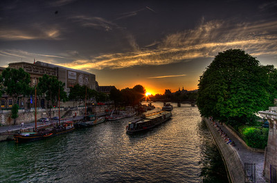 Barges on the River Seine at Sunset.