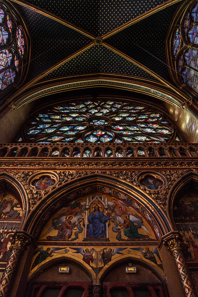 The rose window from below