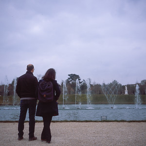 Taking in the Mirror Pool fountain at Versailles