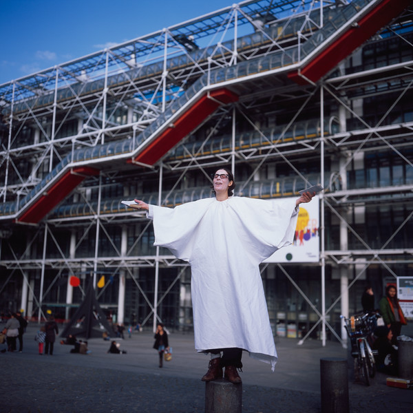 Theatre Troupe Member in Front of Pompidou_Small