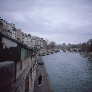 Walking in the Grey along the Seine