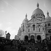 Crowds at Sacre Coeur at Sunset