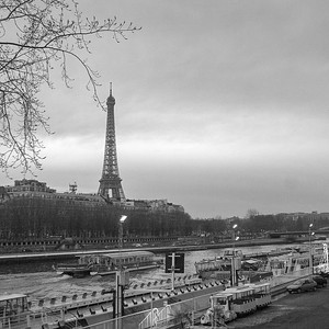 River Seine boats with Eiffel Tower, Paris