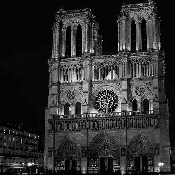 Notre Dame Cathedral, night view, long exposure