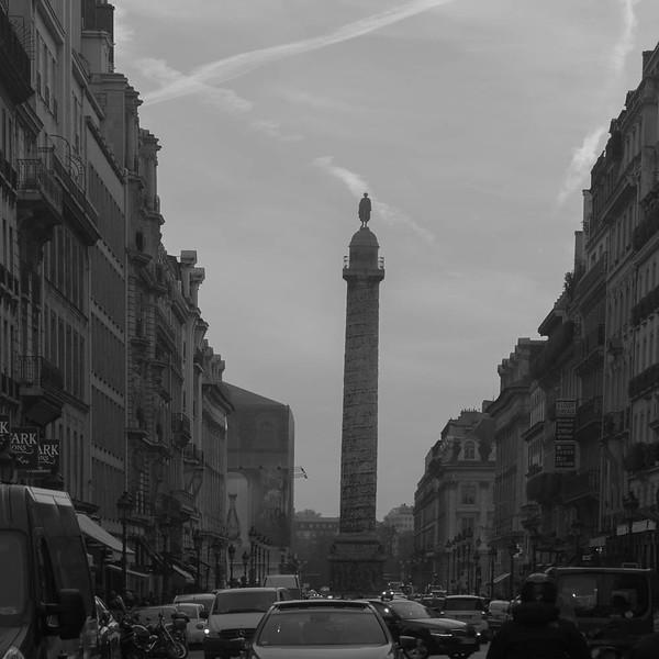 Place du Vendome column viewed from Rue du Rivoli, Paris