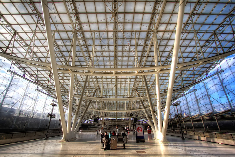 <H3>CDG Train Terminal</H3>  The fancy RER terminal at Paris CDG airport - an exciting start to a week in this great city!
