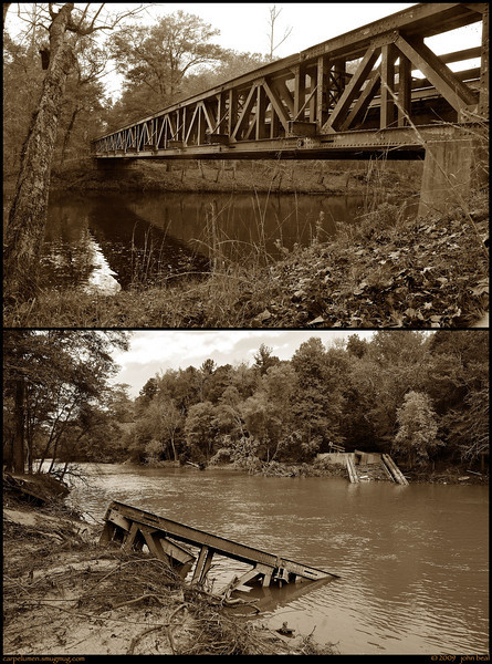 "(12Oct09)  before and after.  the top image is from Nov '08.  the bottom image is from Oct '09.  the rains from late september caused flooding in atlanta, and sweetwater creek rose as high as i've ever heard of.  this bridge at sweetwater creek state park was vintage 1940's design, but did not survive the harsh currents.  across the bridge is the vantage point used in one of <a href=""http://carpelumen.smugmug.com/keyword/sweetwater%20creek/1/417652695_XZvwo/Medium"">my favorite shots</a> of the ruins of new manchester mfg mill.  <a href=""http://carpelumen.smugmug.com/Photography/2008/October08/6118293_quZJt/2/392397436_8My2b/Medium"">one year ago.</a>  f/8, 1/320s, iso 250."