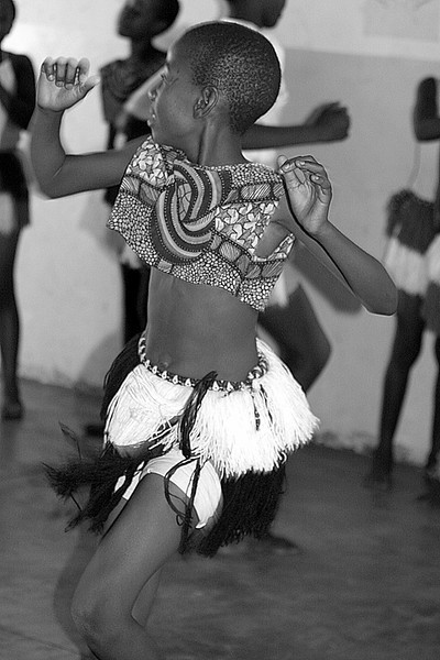 Young school girl dancing in Zimbabwe