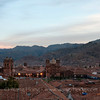 Cusco at sunset from our window at Hostal Corihusasi