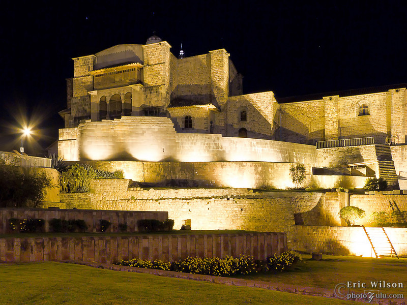 """Koricancha (Sun Temple) at night.&nbsp;<br><br><span class=""""subcaption"""">(Note the lower levels of original Inca stonework with the Spanish architecture replacing the upper areas.)</span>"""