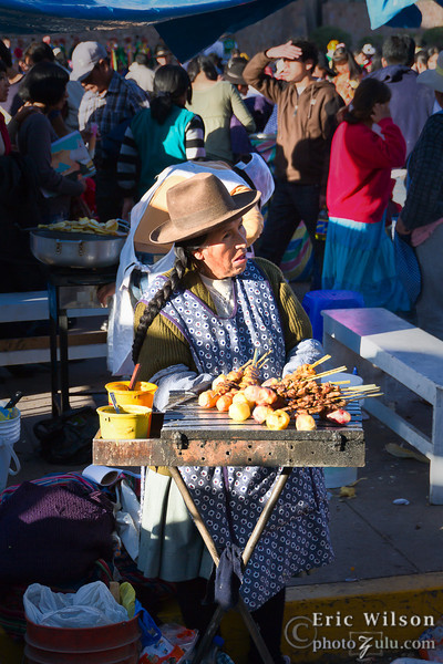 During the Sun Festival (Inti Raymi) street vendors fill every available corner with food, craftworks, trinkets and other items.