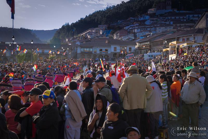 Groups parade around the Plaza de Armas square for the main Inti Raymi celebration.