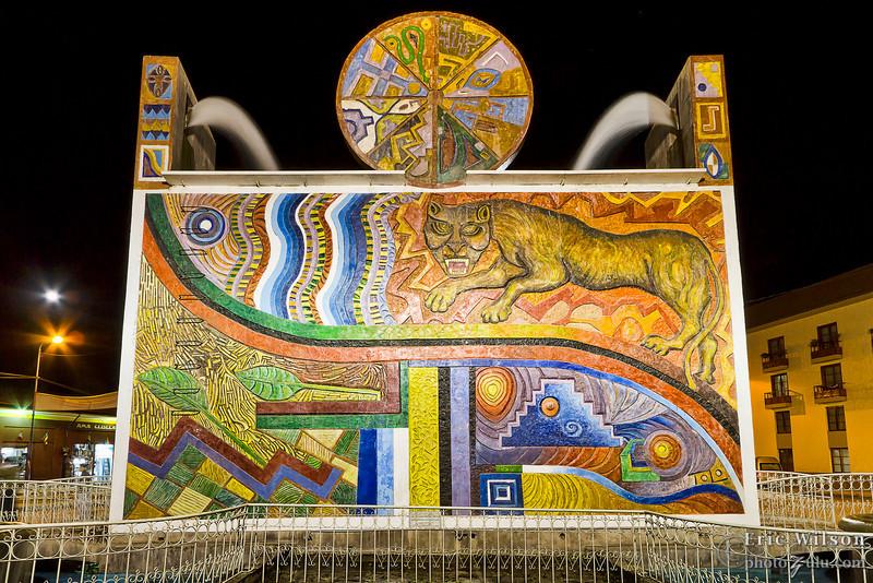 Mural on reverse of Pumacchupan Fountain, Cusco.