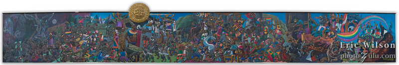 """Large (about 2-3m tall) mural stretching part of the block near our hotel in Cusco.&nbsp;<br><span class=""""subcaption"""">(Stitching together of 7 images.)</span>"""
