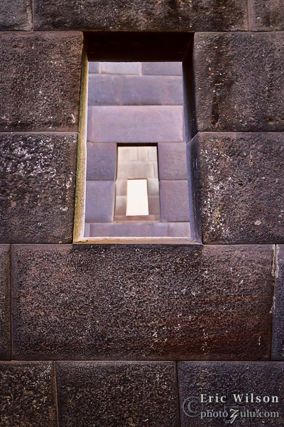 "Portals in the Sun Temple. Cusco, Peru.&nbsp;<br><br><span class=""subcaption"">(The trapezoid shapes were common to Incan architecture. With these inner courtyard portals, they lined up perfectly.)</span>"