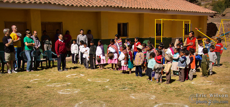 "Peru's national anthem. <br><br><span class=""subcaption"">(An ad hoc tradition for the week was after the village sung the national anthem of Peru we would sing ours. A true meeting of cultures.)</span>"