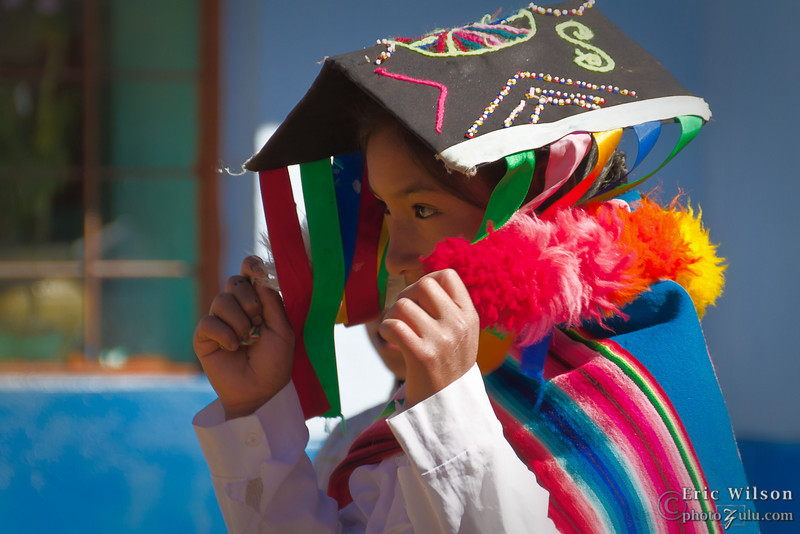 Youth dancer in Huamanchacona prepares.