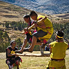 """Log Jump<br><br><span class=""""subcaption""""> (Apparently clearing obstacles while running with logs is an important skill dating back to Incan settlement times.)</span>"""