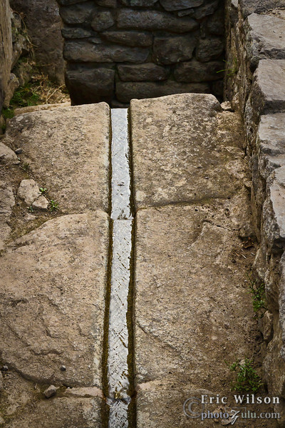 """Drainage. &nbsp;<br><br><span class=""""subcaption""""> (Machu Picchu has intricately designed drainage systems including carved stone """"pipes,"""" multi-layered foundations, and water redirection routes. Eight natural springs fed the city and torrential rains would have been common. This allowed using water for living and farming while preventing corrosion and flooding.)</span>"""