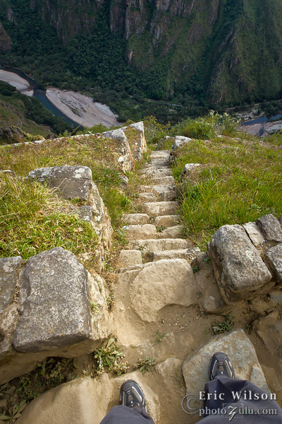 """Escape route. &nbsp;<br><br><span class=""""subcaption""""> (Machu Picchu had eight escape routes down the mountains from the city. After the initial meter or two, however, this seemed to drop off a cliff.)</span>"""