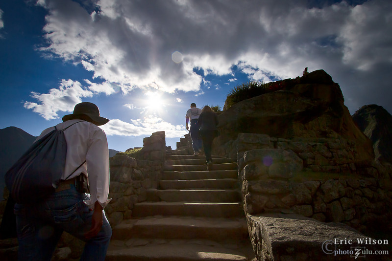 "Sun over Intihuatana &nbsp;<br><br><span class=""subcaption""> (Atop this climb is the astronomical center point of Machu Picchu.)</span>"