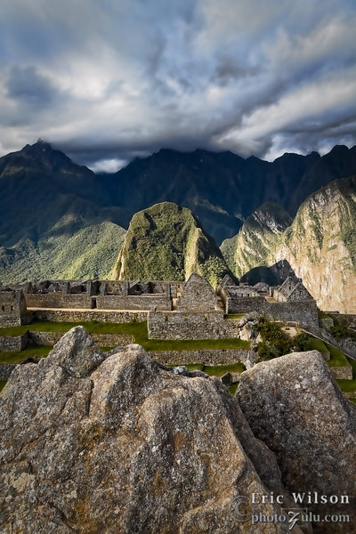 """Eastward &nbsp;<br><br><span class=""""subcaption""""> (From the peak enshrouded in clouds the sun would rise at winter's solstice between a """"V"""" shape. Another geological circumstance probably gave Machu Picchu more astronomical significance to its builders.)</span>"""