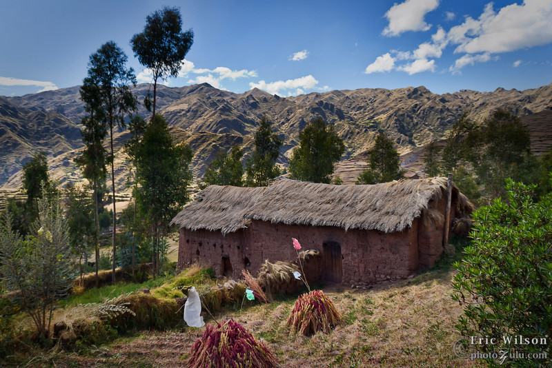Middle to upper class village family abode of adobe with traditional thatched roof.