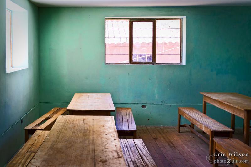 Inside of the new school classroom.