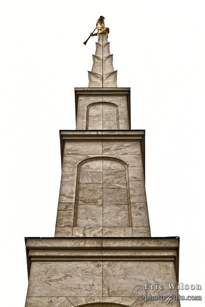 """This is the steeple.<br><br><span class=""""subcaption""""> (This and next photo are processed more than average to whiten the dismal gray sky and to bring out more texture in the stonework.)</span>"""