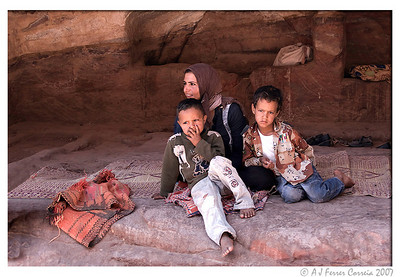 Bedouin family. Lady with two sons