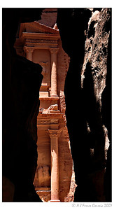 Petra: a peek at the Treasury, viewed from the Siq