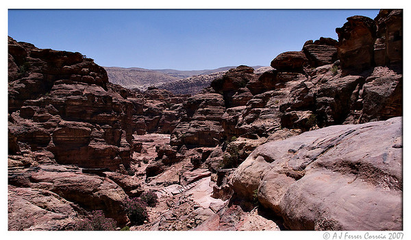 Petra: view from near the Monastery (Ad Deir), looking back to the main city area