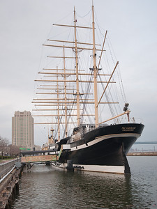 Moshulu, a 4-Masted Steel Barque (now a restaurant and bar) at Penn's Landing, Delaware River, Philadelphia.